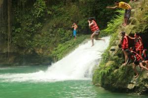 warm up jump off a falls